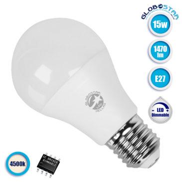 Λάμπα LED E27 A60 Γλόμπος 15W 230V 1470lm 260° Φυσικό Λευκό 4500k Dimmable GloboStar 01740