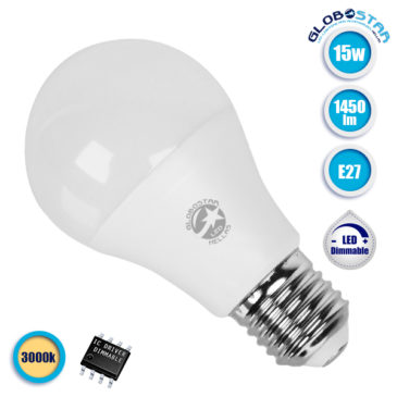 Λάμπα LED E27 A60 Γλόμπος 15W 230V 1450lm 260° Θερμό Λευκό 3000k Dimmable GloboStar 01741