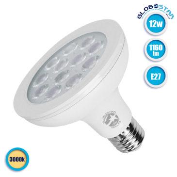Λάμπα LED E27 PAR30 Σποτ 12W 230V 1160lm 36° Θερμό Λευκό 3000k GloboStar 01774
