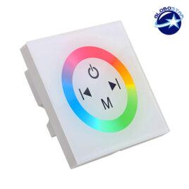 Touch Panel Τοίχου RGB Controller 12-24 Volt 144 Watt White Body GloboStar 77419