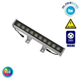 LED Wall Washer 9W 24V 585lm 30° 30cm Αδιάβροχο IP65 DMX512 RGB GloboStar 05004