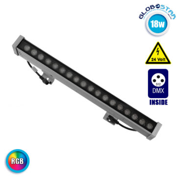 LED Wall Washer 18W 24V 1170lm 30° 50cm Αδιάβροχο IP65 DMX512 RGB GloboStar 05009