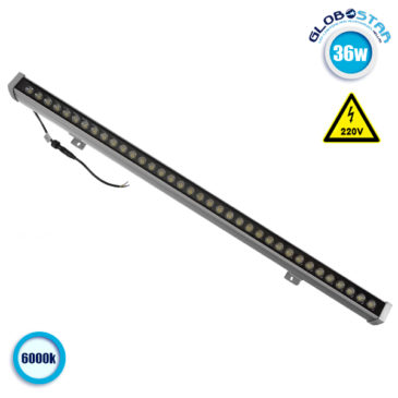 LED Wall Washer 36W 230V 3600lm 30° 100cm Αδιάβροχο IP65 Ψυχρό Λευκό 6000k GloboStar 05011