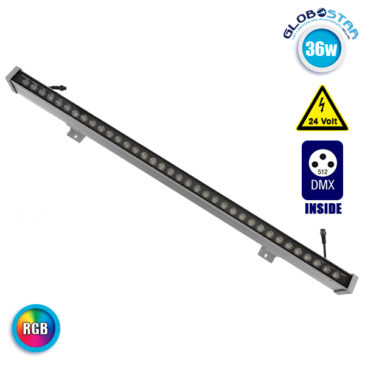 LED Wall Washer 36W 24V 2340lm 30° 100cm Αδιάβροχο IP65 DMX512 RGB GloboStar 05014