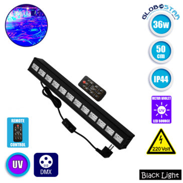 LED Μπάρα Φωτισμού UV 50cm 36W 230V 120° DMX512 με Ασύρματο Χειριστήριο Black Light GloboStar 05036
