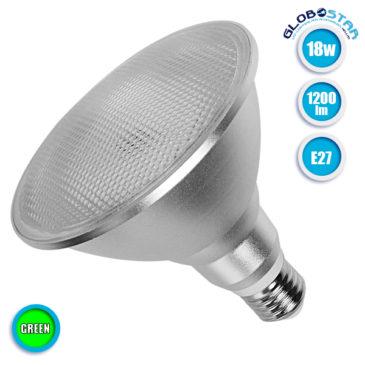 Λάμπα LED E27 PAR38 Σποτ 18W 230V 1200lm 120° Πράσινο GloboStar 05570