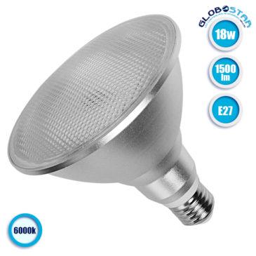 Λάμπα LED E27 PAR38 Σποτ 18W 230V 1500lm 120° Ψυχρό Λευκό 6000k GloboStar 05573