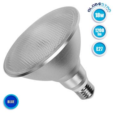 Λάμπα LED E27 PAR38 Σποτ 18W 230V 1200lm 120° Μπλε GloboStar 05576