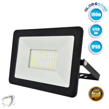 Προβολέας LED Slim Pad 100W 230v 9750lm 120° Αδιάβροχος IP66 Φυσικό Λευκό 4500k GloboStar 11136