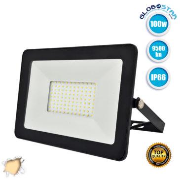 Προβολέας LED Slim Pad 100W 230v 9500lm 120° Αδιάβροχος IP66 Θερμό Λευκό 3000k GloboStar 11137