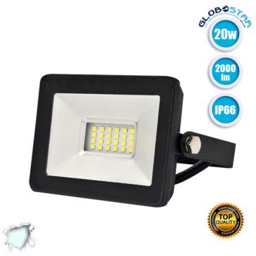 Προβολέας LED Slim Pad 20W 230v 2000lm 120° Αδιάβροχος IP66 Ψυχρό Λευκό 6000k GloboStar 11141