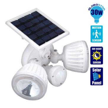Αυτόνομος Ηλιακός Φωτοβολταϊκός Προβολέας Ασφαλείας CREE LED 30W 1500lm Αδιάβροχος IP65 με Αισθητήρα Νυχτός – Κίνησης Ψυχρό Λευκό 6000k GloboStar 12110