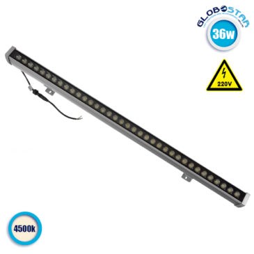 LED Wall Washer 36W 230V 3400lm 30° 100cm Αδιάβροχο IP65 Φυσικό Λευκό 4500k GloboStar 05012