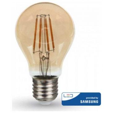 LED V-TAC Λάμπα 6W Filament E27 A60 SAMSUNG CHIP Amber Cover Θερμό Λευκό 2200Κ 286 (286)