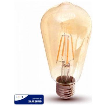 LED V-TAC Λάμπα 6W Filament E27 ST64 SAMSUNG CHIP Amber Cover Θερμό Λευκό 2200Κ 290 (290)