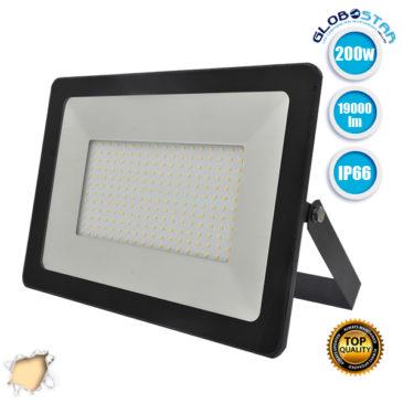 Προβολέας LED Slim Pad 200W 230v 19000lm 120° Αδιάβροχος IP66 Θερμό Λευκό 3000k GloboStar 11140