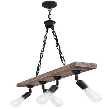 Φωτιστικό κρεμαστό ξύλινη ράγα 4φωτο με ρυθμιζόμενα φώτα και αλυσίδα(30-0030)