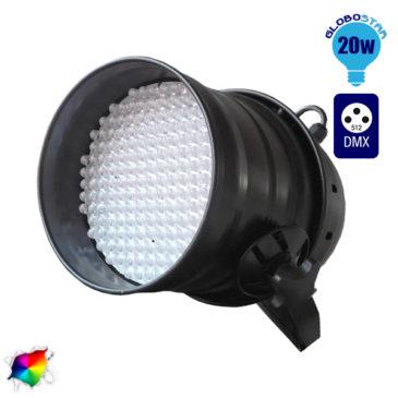 Επαγγελματική Κεφαλή PAR 177 LED 20W 230V 60° DMX512 Μαύρο Χρώμα RGB GloboStar 51119