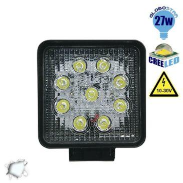 Προβολέας LED Εργασίας Τετράγωνος 27W 10-30V 3780lm 30° Αδιάβροχος IP65 Ψυχρό Λευκό 6000k GloboStar 10000