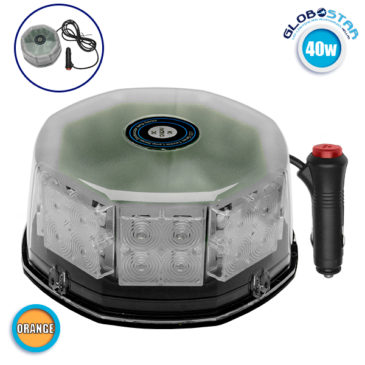 Φάρος Οδικής Βοήθειας STROBO LED 40W 10-30V IP65 Αδιάβροχος με Μαγνήτη Πορτοκαλί GloboStar 34230