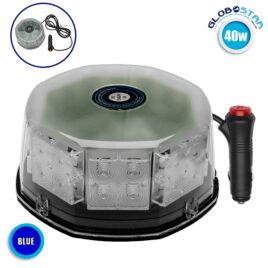 Φάρος Αστυνομίας STROBO LED 40W 10-30V IP65 Αδιάβροχος με Μαγνήτη Μπλε GloboStar 34232