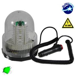 Φάρος Ασφαλείας Security STROBO 100 LED 20W 10-30V IP65 Αδιάβροχος με Μαγνήτη Strobe Πράσινος GloboStar 34234