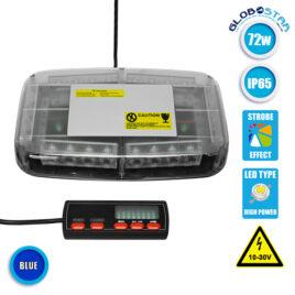 Φάρος Αστυνομίας Οροφής Αυτοκινήτου 72W 10-30V IP65 Αδιάβροχος Μπλε GloboStar 34237
