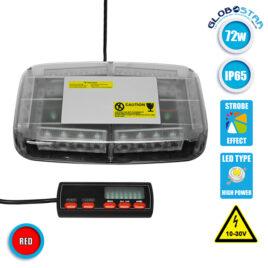 Φάρος Πυροσβεστικής Οροφής Αυτοκινήτου 72W 10-30V IP65 Αδιάβροχος Κόκκινος GloboStar 34238