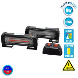 Εξωτερικά Φώτα Αστυνομίας STROBO LED 2 x COB LIGHT 8W 10-30V IP65 Αδιάβροχα Μπλε & Κόκκινο GloboStar 34300