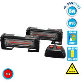Εξωτερικά Φώτα Πυροσβεστικής STROBO LED 2 x COB LIGHT 8W 10-30V IP65 Αδιάβροχα Κόκκινο GloboStar 34301