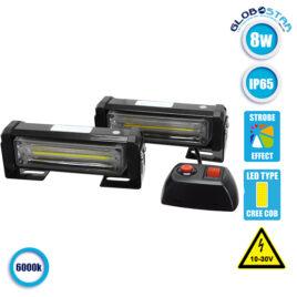 Εξωτερικά Φώτα Οδικής Βοήθειας STROBO LED 2 x COB LIGHT 8W 10-30V IP65 Αδιάβροχα Λευκό GloboStar 34303