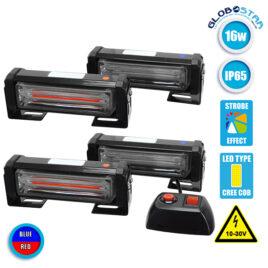 Εξωτερικά Φώτα Αστυνομίας STROBO LED 4 x COB LIGHT 16W 10-30V IP65 Αδιάβροχα Μπλε & Κόκκινο GloboStar 34306