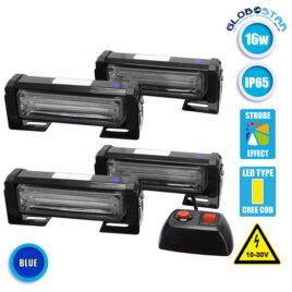 Εξωτερικά Φώτα Ασφαλείας STROBO LED 4 x COB LIGHT 16W 10-30V IP65 Αδιάβροχα Μπλε GloboStar 34308