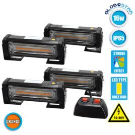 Εξωτερικά Φώτα Οδικής Βοήθειας STROBO LED 4 x COB LIGHT 16W 10-30V IP65 Αδιάβροχα Πορτοκαλί GloboStar 34310