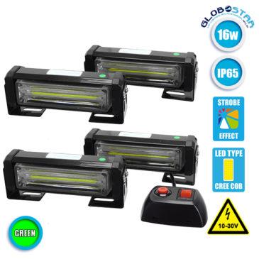 Εξωτερικά Φώτα Ασφαλείας Security STROBO LED 4 x COB LIGHT 16W 10-30V IP65 Αδιάβροχα Πράσινο GloboStar 34311