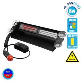 Φώτα Αστυνομίας STROBO για Παρμπρίζ Αυτοκινήτου με Βεντούζες Στήριξης LED 2 x COB LIGHT 8W 10-30V Μπλε & Κόκκινο GloboStar 34312