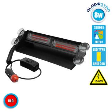 Φώτα Πυροσβεστικής STROBO για Παρμπρίζ Αυτοκινήτου με Βεντούζες Στήριξης LED 2 x COB LIGHT 8W 10-30V Κόκκινο GloboStar 34313