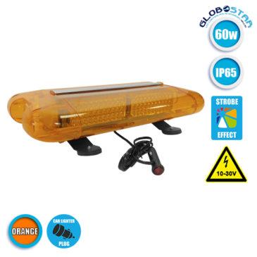 Φάρος Οδικής Βοήθειας Σήμανσης STROBO Οροφής Αυτοκινήτου – Φορτηγού 58.5CM Πορτοκαλί LED 60W 10-30 Volt με Controller Εναλλαγής Εφέ Προγραμμάτων GloboStar 34321