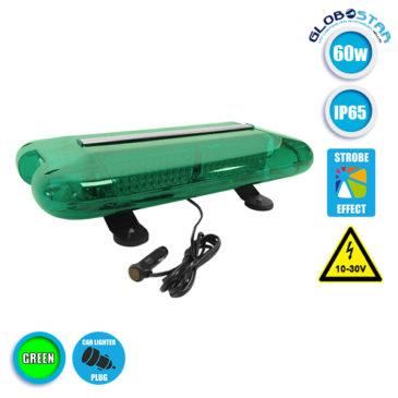 Φάρος Ασφάλειας Security Σήμανσης STROBO Οροφής Αυτοκινήτου – Φορτηγού 58,5CM Πράσινος LED 60W 10-30 Volt με Controller Εναλλαγής Εφέ Προγραμμάτων GloboStar 34322