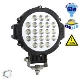 Προβολέας LED Εργασίας Μαύρος Στρογγυλός 63W 10-30V 8820lm 30° Αδιάβροχος IP65 Ψυχρό Λευκό 6000k GloboStar 05198