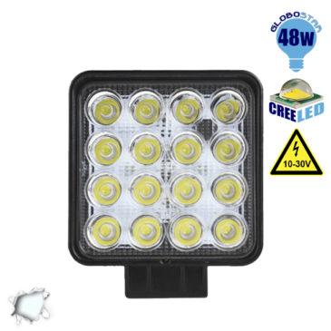 Προβολέας LED Εργασίας Τετράγωνος 48W 10-30V 6720lm 30° Αδιάβροχος IP65 Ψυχρό Λευκό 6000k GloboStar 50000