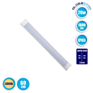 LED Γραμμικό Φωτιστικό 60cm Τύπου T8 Πρισματικού Φωτισμού 20W 230V 1800lm 180° Αδιάβροχο IP65 Θερμό Λευκό 3000k GloboStar 40009