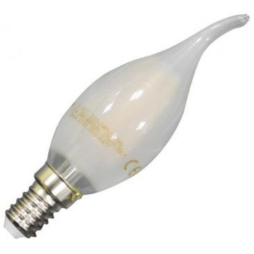 LED V-TAC Λάμπα Filament E14 Κεράκι 4W Frost Cover Σχήμα Φλόγας Φώς Ημέρας 4000Κ (4478)
