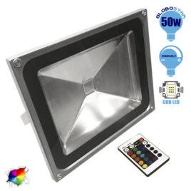 Προβολέας LED 50W 230V 3250lm 120° Αδιάβροχος IP66 με Ασύρματο Χειριστήριο RGB GloboStar 62003