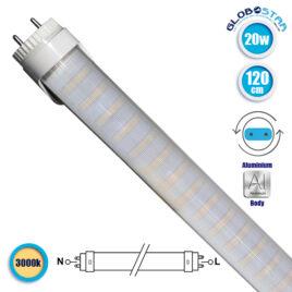 Λάμπα LED Τύπου Φθορίου T8 Αλουμινίου Τροφοδοσίας Δύο Άκρων 120cm 20W 230V 1800lm 180° με Καθαρό Κάλυμμα Θερμό Λευκό 3000k GloboStar 46250