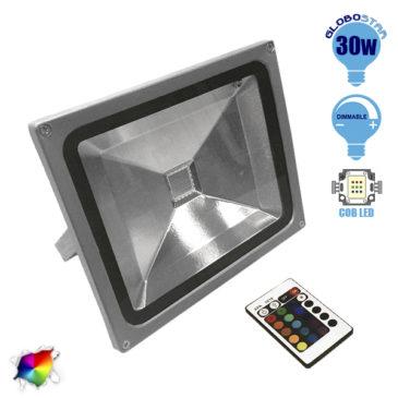 Προβολέας LED 30W 230V 1950lm 120° Αδιάβροχος IP66 με Ασύρματο Χειριστήριο RGB GloboStar 62002