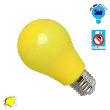 Λάμπα LED E27 A60 Γλόμπος 5W 230V 260° Εντομοαπωθητικός Κίτρινος GloboStar 64000