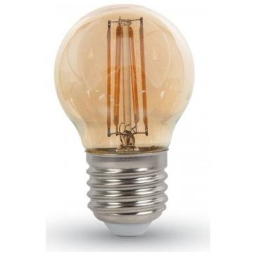 LED V-TAC Λάμπα Ε27 4W Filament G45 Amber Cover Θερμό 2200K 7100 (7100)