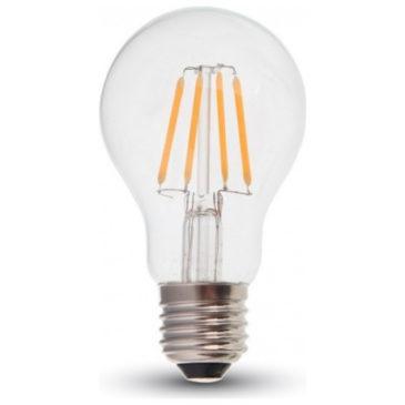 LED V-TAC Λάμπα 4W Filament E27 A60 Clear Cover Ψυχρό Λευκό 6400Κ 7120 (7120)