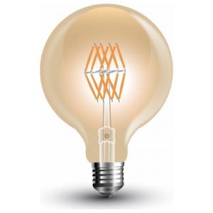 LED V-TAC Λάμπα Ε27 8W Filament Σφαιρική G95 Amber Θερμό 2200K (7145)